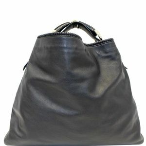 GUCCI Horsebit Large Black Leather Hobo Bag